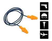 Ear plugs vector illustration. Silicone earplugs. Stock Photography