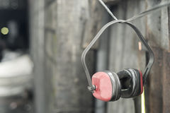 Ear portectors in the workshop Royalty Free Stock Image