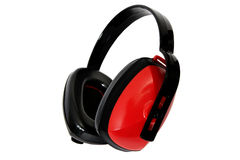 Ear Protection – Red. Ear Protection Isolated on White Background Stock Photo