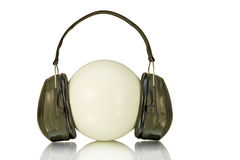 Ear protection. Plastic ear protection on white background Stock Photos
