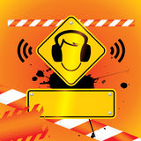 Ear protection must be worn background Stock Photo