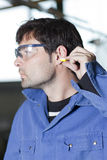 Ear protection at work Royalty Free Stock Photos