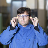 Ear protection at work Royalty Free Stock Images