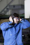 Ear protection at work Royalty Free Stock Photography