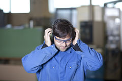 Ear protection at work Stock Image