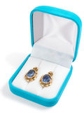Ear-rings. Photo of ear-rings with dark blue stones in a box Royalty Free Stock Photos