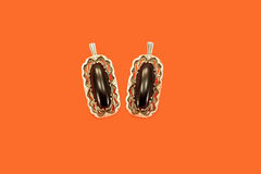 Ear-rings with an agate Royalty Free Stock Image