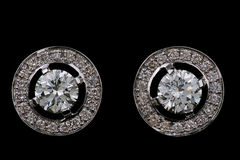 Ear rings with diamonds Royalty Free Stock Image
