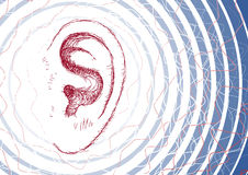 Ear and sound waves. Illustration of an ear with sound waves Stock Image