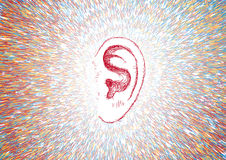 Ear and sound waves. Illustration of an ear with sound waves Stock Photo
