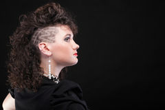 Ear super piercing woman curly girl Stock Images