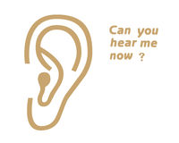 Ear symbol. And text on white background Stock Image