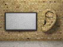 Ear in tte wall with banner. Royalty Free Stock Image