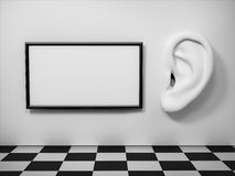 Ear in tte wall with banner. Stock Photo