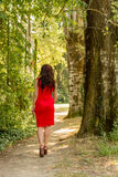 Ear view of woman in red, high heels and cocktail dress in wood Royalty Free Stock Photo
