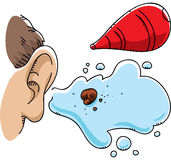 Ear Wax Flush. A cartoon ball of ear wax, flushed out by a syringe vector illustration