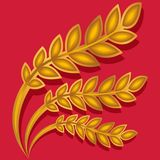 Ear of wheat. Vector illustration of ears of wheat on red background Royalty Free Stock Photos