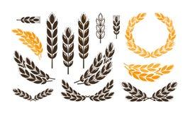 Ear wheat, bread logo or label. Harvest, bakery, bakehouse set icons. Vector illustration Stock Photography