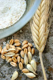 Ear of wheat,flour and wheat grains Royalty Free Stock Photos