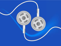 Earbuds. Raster illustration of a pair of earbuds on blue background royalty free illustration