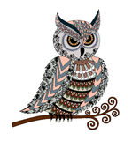 Eared owl with colorful  ornaments in gray pink  tones Stock Photography