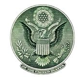 Eargle Seal  US One Dollar Bill Royalty Free Stock Photos