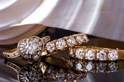 Earings et anneau de diamant Photo libre de droits
