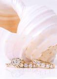 Earings et anneau de diamant avec la coquille Images stock
