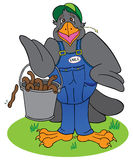Earl E Bird. Farmer bird proudly displaying bucket of worms he has gotten up early to gather Stock Photo