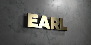 Earl - Gold sign mounted on glossy marble wall  - 3D rendered royalty free stock illustration Royalty Free Stock Image