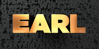 Earl - Gold text on black background - 3D rendered royalty free stock picture Stock Photography