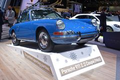 89th Geneva International Motor Show - Porsche 911 2.0. Coupé 1965. The earliest editions of the 911 had an air-cooled, rear-mounted, 2.0 L 1,991 cc 130 PS 96 royalty free stock image