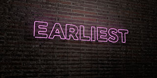 EARLIEST -Realistic Neon Sign on Brick Wall background - 3D rendered royalty free stock image Royalty Free Stock Photo