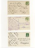 Early 900 written postcards. 3 early 900s' postcards showing old handwritings, stamps and postmarks Stock Image