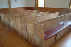 Early American Church Pew. Old Pews, First Indian Church at Mashpee, Mashpee MA USA Cape Cod Royalty Free Stock Images