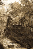 Early American Country Bridge in Ruin in Black and White. Rusting ruin of a rural bridge over a creek in south Alabama Stock Photography