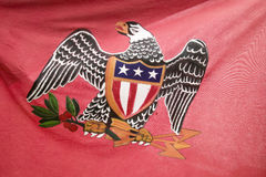 Early American patriotic flag with Eagle at the 225th Anniversary of the Siege of Yorktown, Virginia, 1781, ending the American Re. Volution with the defeat of Stock Images