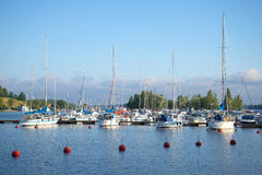 Early august morning on the Saimaa lake. The harbour town of Lappeenranta, Finland Stock Images