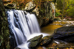 Early autumn color at Kilgore Falls, at Rocks State Park, Maryla Stock Image