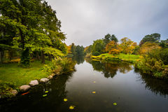 Early autumn color and a lake at Botanisk Have, in Copenhagen, D. Enmark Stock Photo