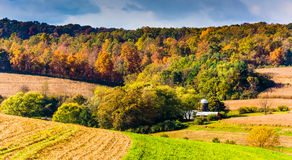 Early autumn color in rural York County, Pennsylvania. Stock Images