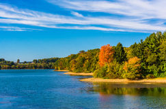 Early autumn color on the shore of Lake Marburg, in Codorus Stat Stock Images