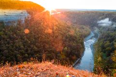 Sunrise over the majestic waterfalls of Letchworth State Park, NY