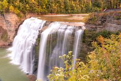 Early autumn colors surround Middle Falls Royalty Free Stock Photo