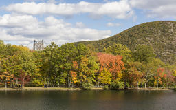 Early Autumn on Hessian Lake. In Bear Mountin State Park, New York royalty free stock photo