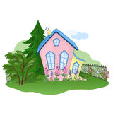 Early autumn house. Pink-yellow house in early autumn Royalty Free Stock Image