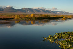 Early autumn in the Polar Urals. Sob River. Russia stock photography