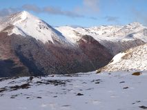 Early Autumn Snow In The Mountains Of Navarino Island, Province Of Chilean Antarctica, Chile Stock Photography