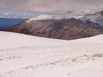 Early Autumn Snow In The Mountains Of Navarino Island, Province Of Chilean Antarctica, Chile Stock Images