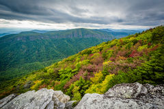 Early autumn view of the Blue Ridge Mountains from Hawksbill Mou. Ntain, on the rim of Linville Gorge, in Pisgah National Forest, North Carolina Royalty Free Stock Image